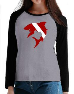 Diver down Shark Scuba Diving T-Shirt - Raglan Long Sleeve-Womens