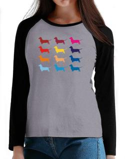 Colorful Dachshund T-Shirt - Raglan Long Sleeve-Womens