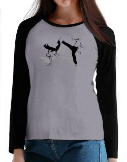 Capoeira fight T-Shirt - Raglan Long Sleeve-Womens