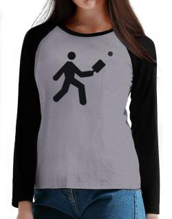 Pickleball Stickman T-Shirt - Raglan Long Sleeve-Womens