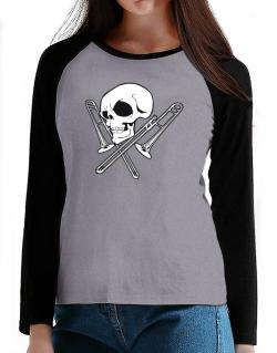 Skull and Trombone T-Shirt - Raglan Long Sleeve-Womens