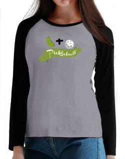 Pickle plus ball equals pickleball T-Shirt - Raglan Long Sleeve-Womens