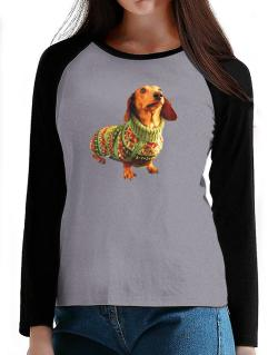 Dachshund christmas sweater T-Shirt - Raglan Long Sleeve-Womens