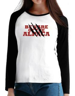 Beware Of The Alpaca T-Shirt - Raglan Long Sleeve-Womens