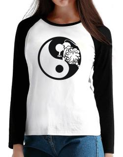 Yin Yang Leo T-Shirt - Raglan Long Sleeve-Womens