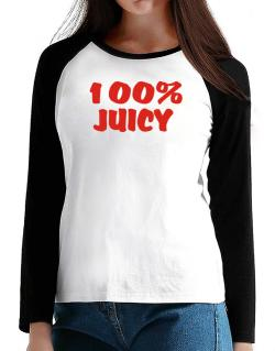 100% Juicy T-Shirt - Raglan Long Sleeve-Womens