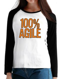 100% Agile T-Shirt - Raglan Long Sleeve-Womens