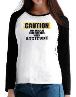 Caution - Andean Condor With Attitude T-Shirt - Raglan Long Sleeve-Womens