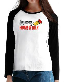 My Andean Condor Ate My Homework T-Shirt - Raglan Long Sleeve-Womens
