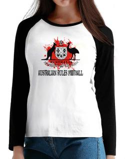 Australia Australian Rules Football / Blood T-Shirt - Raglan Long Sleeve-Womens