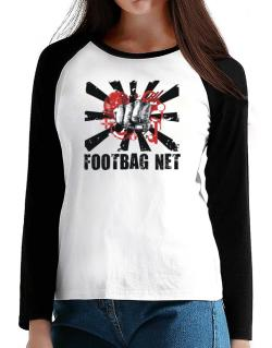 Footbag Net Fist T-Shirt - Raglan Long Sleeve-Womens