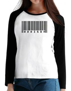 Bar Code Addison T-Shirt - Raglan Long Sleeve-Womens