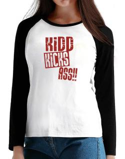 Kidd Kicks Ass!! T-Shirt - Raglan Long Sleeve-Womens
