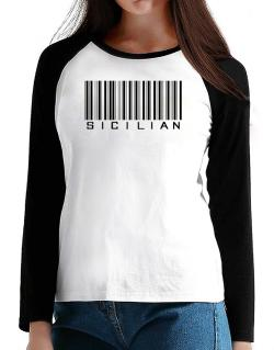 Sicilian Barcode T-Shirt - Raglan Long Sleeve-Womens