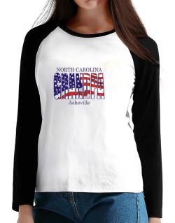 Grandpa Asheville - Us Flag T-Shirt - Raglan Long Sleeve-Womens