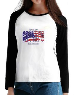 Grandpa Tallahassee - Us Flag T-Shirt - Raglan Long Sleeve-Womens