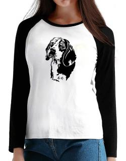 Beagle Face Special Graphic T-Shirt - Raglan Long Sleeve-Womens