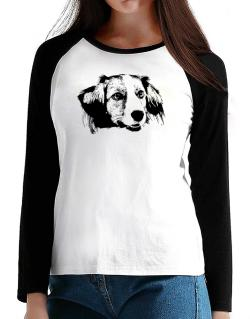 """ Kooikerhondje FACE SPECIAL GRAPHIC "" T-Shirt - Raglan Long Sleeve-Womens"