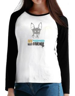 """ Fox Terrier MY BEST FRIEND - URBAN STYLE "" T-Shirt - Raglan Long Sleeve-Womens"
