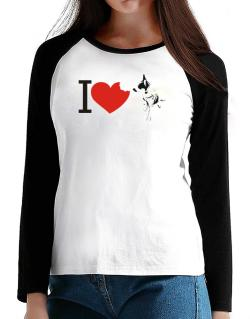 I love Australian Cattle Dogs T-Shirt - Raglan Long Sleeve-Womens