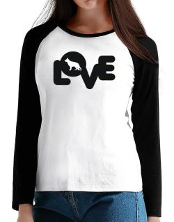 Love Silhouette German Shepherd T-Shirt - Raglan Long Sleeve-Womens
