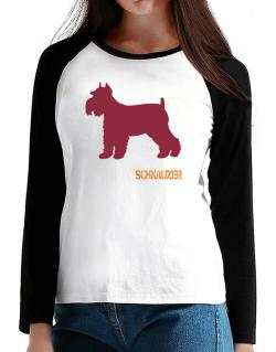 Schnauzer T-Shirt - Raglan Long Sleeve-Womens