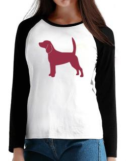 Beagle Silhouette Embroidery T-Shirt - Raglan Long Sleeve-Womens