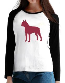 Boston Terrier Silhouette Embroidery T-Shirt - Raglan Long Sleeve-Womens