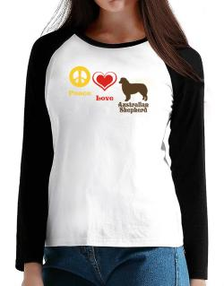 Peace, Love, Australian Shepherd T-Shirt - Raglan Long Sleeve-Womens