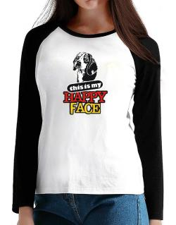 Happy Face Beagle T-Shirt - Raglan Long Sleeve-Womens