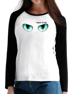 Aegean Cat Lady T-Shirt - Raglan Long Sleeve-Womens
