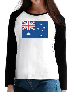 Australia Flag T-Shirt - Raglan Long Sleeve-Womens