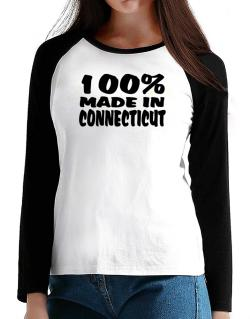 100% Made In Connecticut T-Shirt - Raglan Long Sleeve-Womens