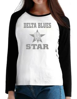 Delta Blues Star - Microphone T-Shirt - Raglan Long Sleeve-Womens
