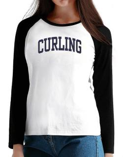 Curling Athletic Dept T-Shirt - Raglan Long Sleeve-Womens