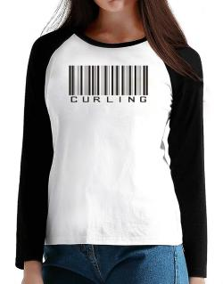 Curling Barcode / Bar Code T-Shirt - Raglan Long Sleeve-Womens