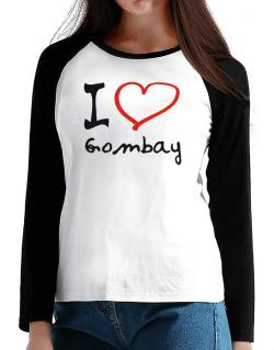 I Love Gombay T-Shirt - Raglan Long Sleeve-Womens