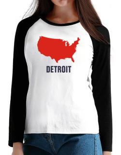 Detroit - Usa Map T-Shirt - Raglan Long Sleeve-Womens