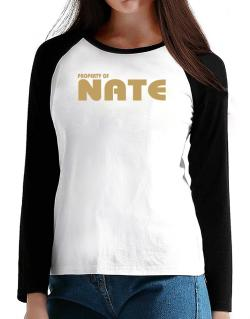 Property Of Nate T-Shirt - Raglan Long Sleeve-Womens