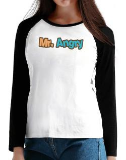 Mr. Angry T-Shirt - Raglan Long Sleeve-Womens