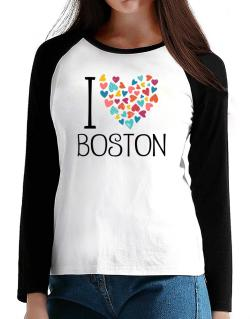 I love Boston colorful hearts T-Shirt - Raglan Long Sleeve-Womens