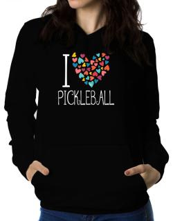 I love Pickleball colorful hearts Women Hoodie