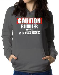 Caution - Reindeer With Attitude Women Hoodie