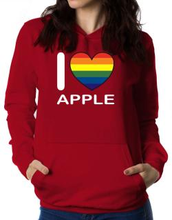 I Love Apple - Rainbow Heart Women Hoodie