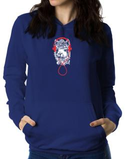 Llama with headphones Women Hoodie