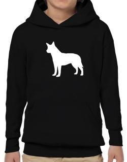Australian Cattle Dog Silhouette Embroidery Hoodie-Boys