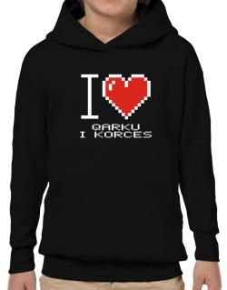 I love Qarku I Korces pixelated Hoodie-Boys
