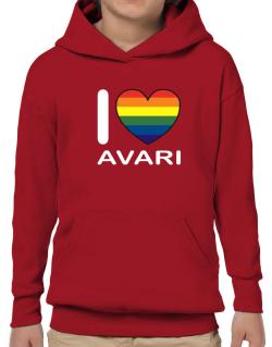 I Love Avari - Rainbow Heart Hoodie-Boys