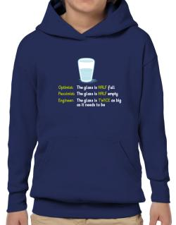 Optimist pessimist engineer glass problem Hoodie-Boys