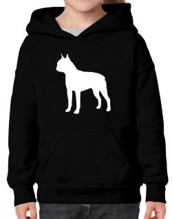 Boston Terrier Silhouette Embroidery Hoodie-Girls